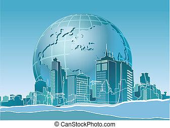 eco, bannière, la terre, moderne, fin, ville