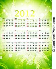 eco, calendrier mural, vert, 2012