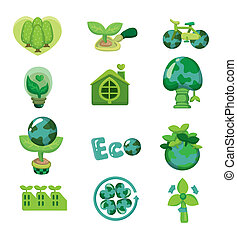 eco, dessin animé, icône