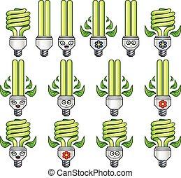 eco, ensemble, ampoule, lumière