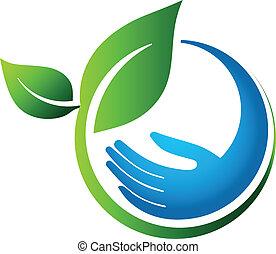 eco, feuilles, vert, main