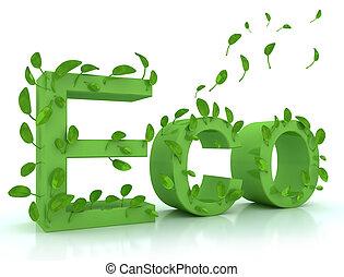 eco, feuilles vertes, mot