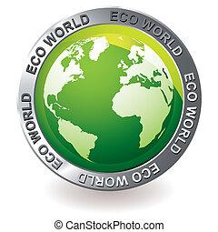 eco, globe terre, vert, icône