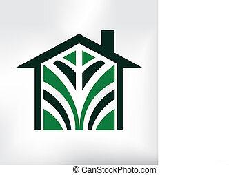 eco, logo, maison