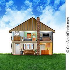 eco, maison, intérieur, amical