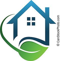 eco, maison, vert