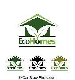 eco, maisons, logo
