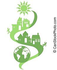 eco, naturel, communauté, fond