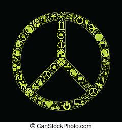 eco, paix, vecteur, fond