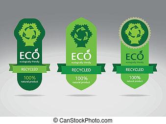eco, recycler, ensemble, étiquette