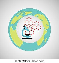 eco, science, microscope, recherche, icône