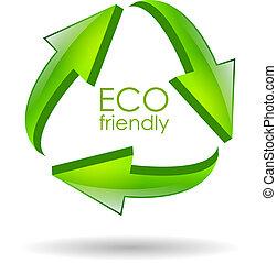eco, symbole, vecteur, amical
