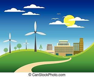 eco, ville, paysage, fond