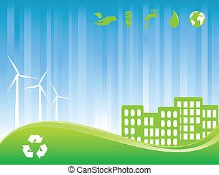 eco, ville, vert