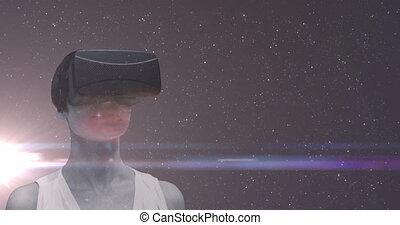 ecouteur portant, lumière, femme, étoiles, sur, tache, multiple, backgrou, univers, vr, incandescent