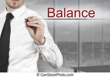 ecriture homme affaires, équilibre, air