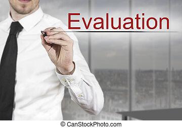 ecriture homme affaires, évaluation, air
