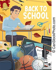 education, étudiant, supplies., école