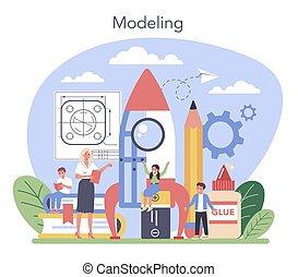 education., art, apprentissage, étudiant, tools., prof, tenue, école