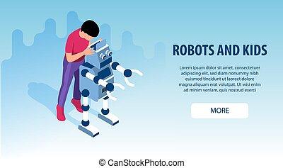 education, bannières, gosses, robot