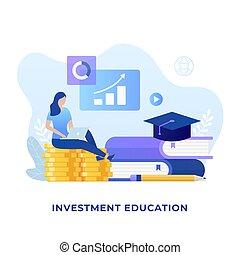 education, concept, plat, conception, investissement