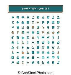education, contour, conception, rempli, ensemble, vecteur, style, icônes