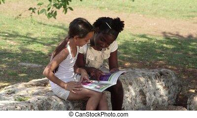education, enfants, livre, amis