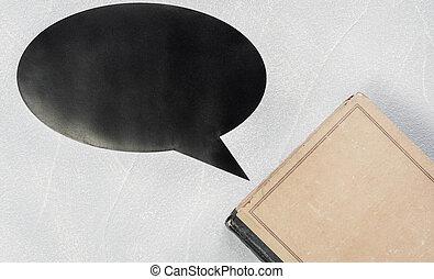 education, papier, couverture, fermé, vieux, mesquin, livre, espace, feuilles, vide, copie, concept, pensée, sagesse, vendange