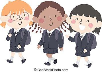 eduquer filles, gosses, illustration, uniforme