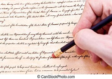 effacement, amendement, libertés, érosion, civil, liberté, religion, parole, protest., premier, etats-unis