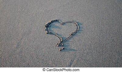effacement, coeur, sable, dessiné, vague