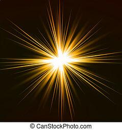 effect., lumière, vecteur, fusée jaune