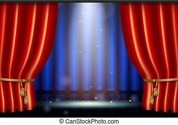 effet, réaliste, éclairage, rideau, projecteur, rouges
