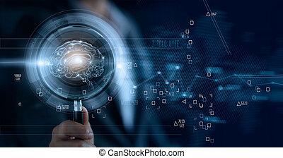 efficace, business, brainstrom, recherche, verre, collaboration, numérique, cerveau, tenue, homme affaires, magnifier