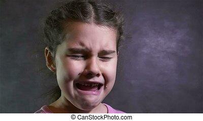 effort, couler, mouvement, girl, adolescent, portrait, problèmes, lent, cris, larmes
