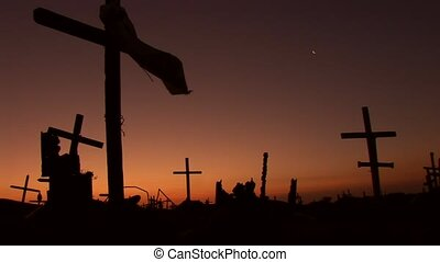 effrayant, coucher soleil, cementery