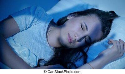 effrayant, dormir, ombres, femme