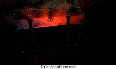 effrayant, dusk., rigolote, couleur, grand, fâché, halloween, brûler, respire, orange, fumée, brume, sombre, potirons, exhales, brouillard, vapeur, citrouille
