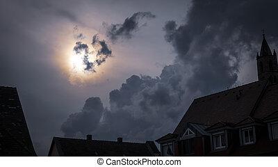 effrayant, entiers, ciel, lune, sombre, nuit