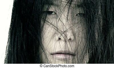 effrayant, femme, closeup, asiatique, laid