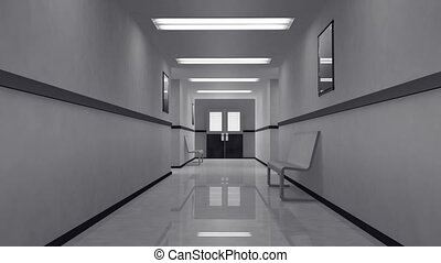 effrayant, hôpital, 4, couloir