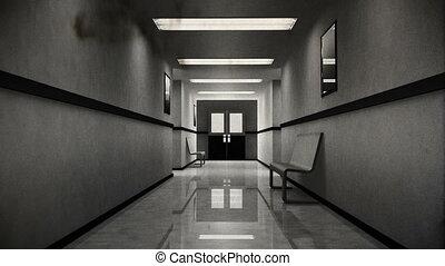 effrayant, hôpital, 8, couloir, vendange