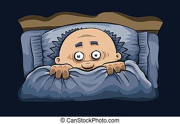 effrayant, lit, nuit