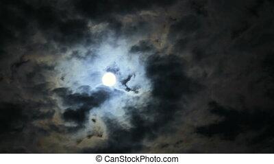 effrayant, lune, nuages, sombre, entiers