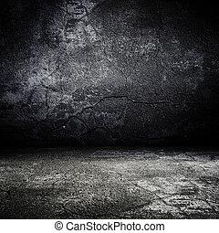 effrayant, vieux, salle, texture, béton, grunge