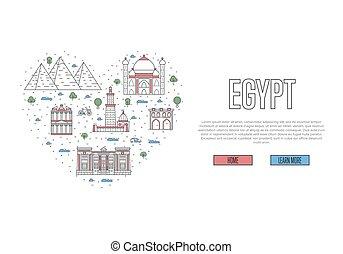 egypte, affiche, style, amour, linéaire