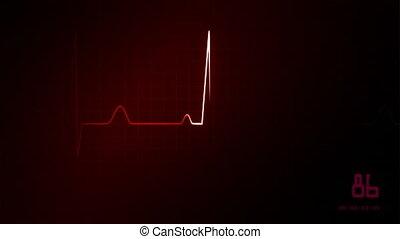 ekg, moniteur coeur, rouges