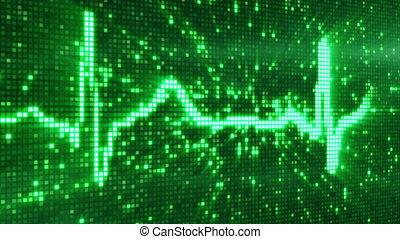 ekg, pixel, électrocardiogramme, numérique