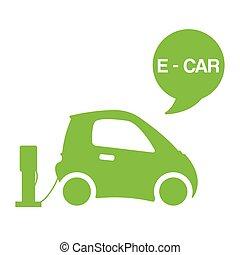electromobile, poster., électrique, illustration., vecteur, blanc, écologique, batterie, vert, e-car, auto, actionné, concept, station, fond, isolé