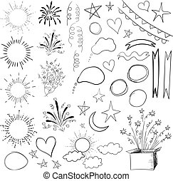 elements., 47, isolé, collection, vecteur, noir, illustration, white.